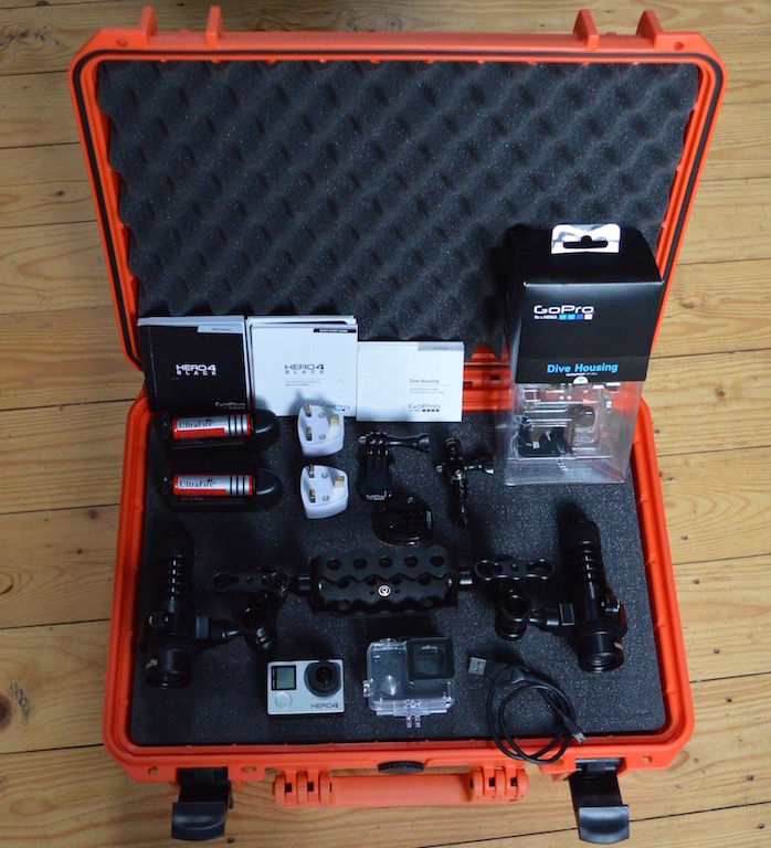 Go Pro Hero 4 Black, 60m Dive Housing, Light For Me Lighting System and MAX Case